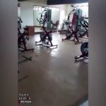 Ghost filmed pedalling exercise bike in empty gym