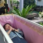Inside the'death cafe': The bizarre place where customers can taste the death inside coffins