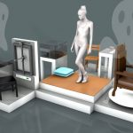 Art Exhibit tries to lure artist's ghost using nude models and robots